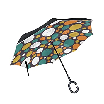 MAILIM Paraguas Reversible para Coche, Diseño de Lunares, Color Vintage, Plegable, invertido