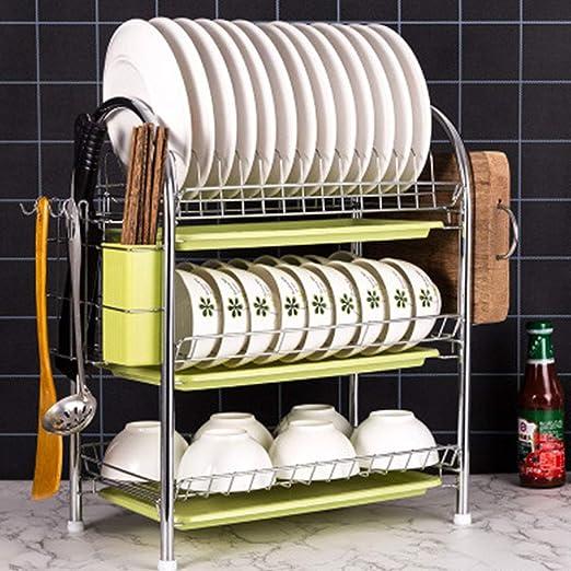 Escurridor de platos de acero inoxidable de 2 niveles/3 ...
