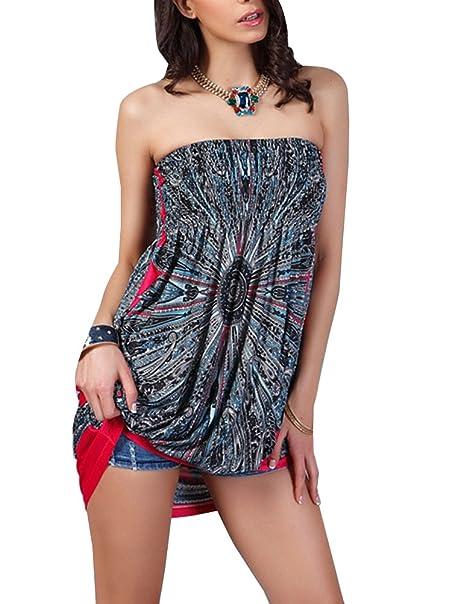 Corto Vestido para Mujer Vestido de Verano Bandeau Bohemia Etnica Estampados Sin Mangas Vestidos de Playa