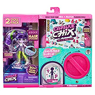 Capsule Chix Shimmer Surge 2 Pack, 4.5 inch Small Doll with Capsule Machine Unboxing and Mix and Match Fashions and Accessories, Multicolor (59227)