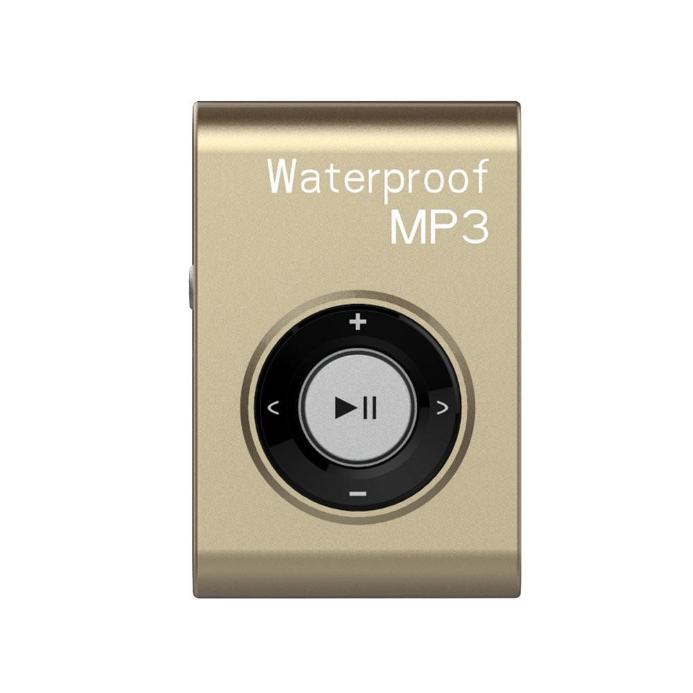 MIUSUK Waterproof MP3 Player Built-in 8GB Swimming Diving Sports with Waterproof Headphones Players Support FM Radio and Shuffle Feature Perfect Swimming Companion (Gold)