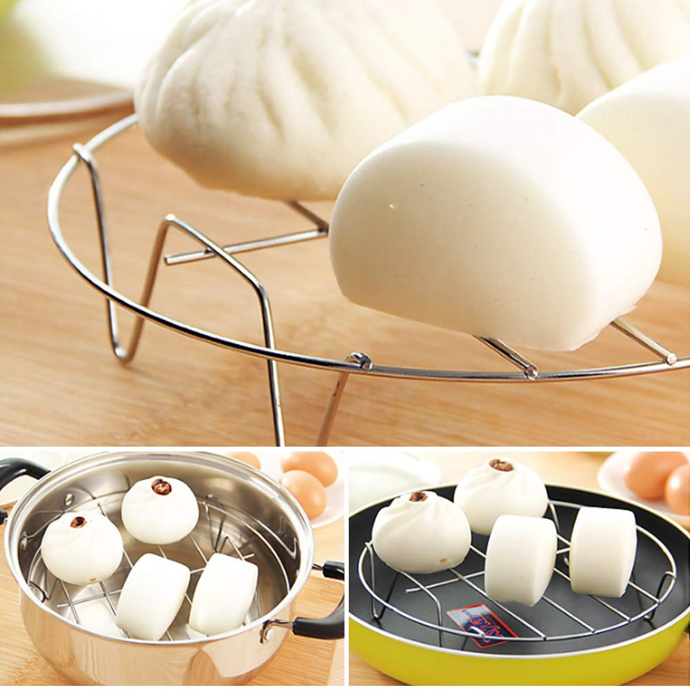 Bosiwee Butterfly Steamer Rack with Handle Cooking Steaming Holder/Heavy Duty Metal Multi-function for Cooking . Stainless Steel Butterfly Steamer Rack