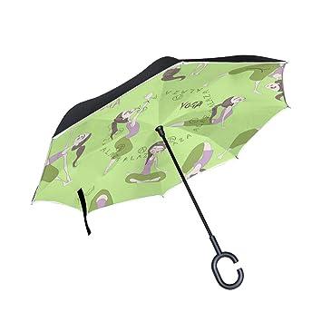 ALINLO Paraguas invertido Yoga, diseño de niña, Doble Capa, Paraguas invertido, Impermeable