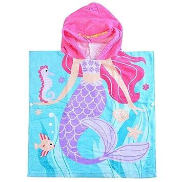 SearchI Toalla de Baño Playa Encapuchado Poncho para Niños Niñas, 100% Algodón ranspirable Albornoces de Dibujos Animados Sirena Infantiles Secado Rápido ...