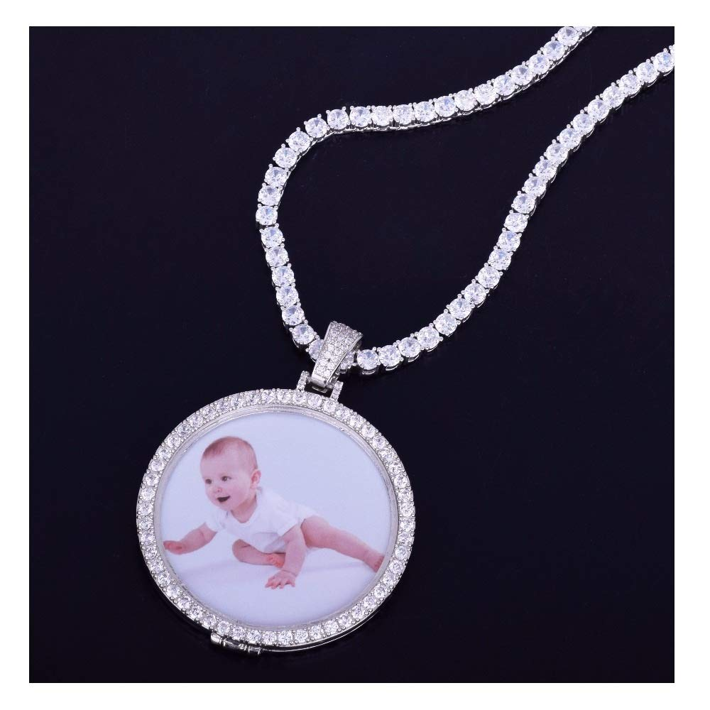 MoCa Jewelry Personalized Custom Photo Medallions Necklace & Pendant 18K Gold Silver Cubic Zircon Hip hop Jewelry Dog Tag Necklace for Men Women, Photo Replaceable (Silver)