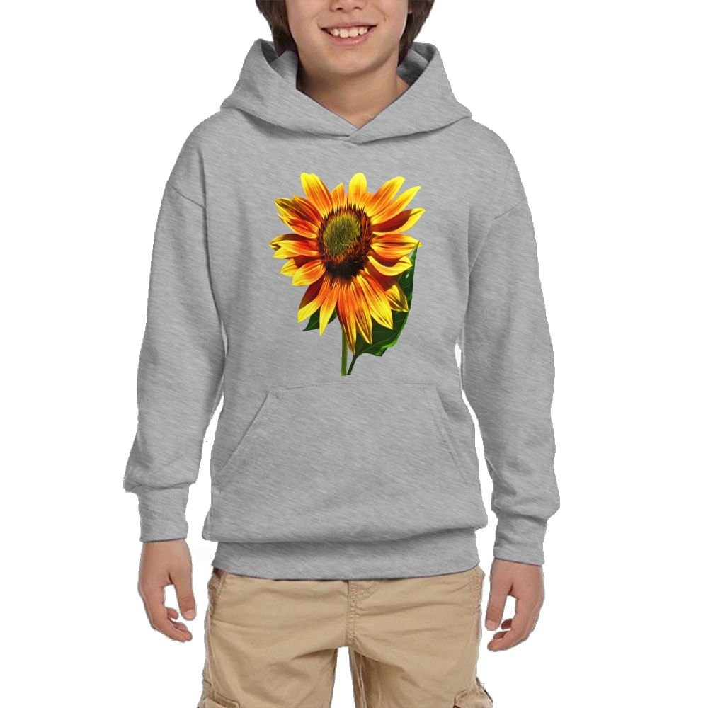 GLSEY He Raises Sunflower Pattern Youth Soft Pullovers Hooded Sweatshirts Long Sleeve