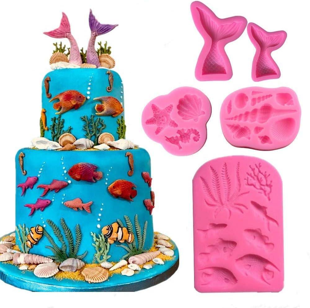 Silicone Sea Shell Mould Fondant Cake Sugarcraft Starfish Decorating Mold DIY