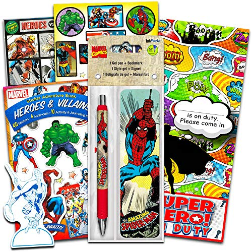Marvel Avengers Gel Pen & Bookmark with Over 296 Stickers Featuring Captain America, Iron Man, Black Panther, Black Widow, Ant-Man & More, Great for Party Favors & Rewards