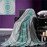 smallbeefly Grey Teal Digital Printing Blanket Mandala Ombre Design Sacred Space Geometric Center Point Boho Meditation Art Summer Quilt Comforter 80''x60'' Grey Teal