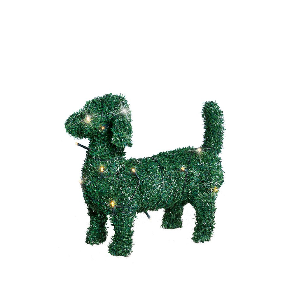 Collections Lighted Boxwood Topiary Animal Dog Sculpture Outdoor Decoration, Short