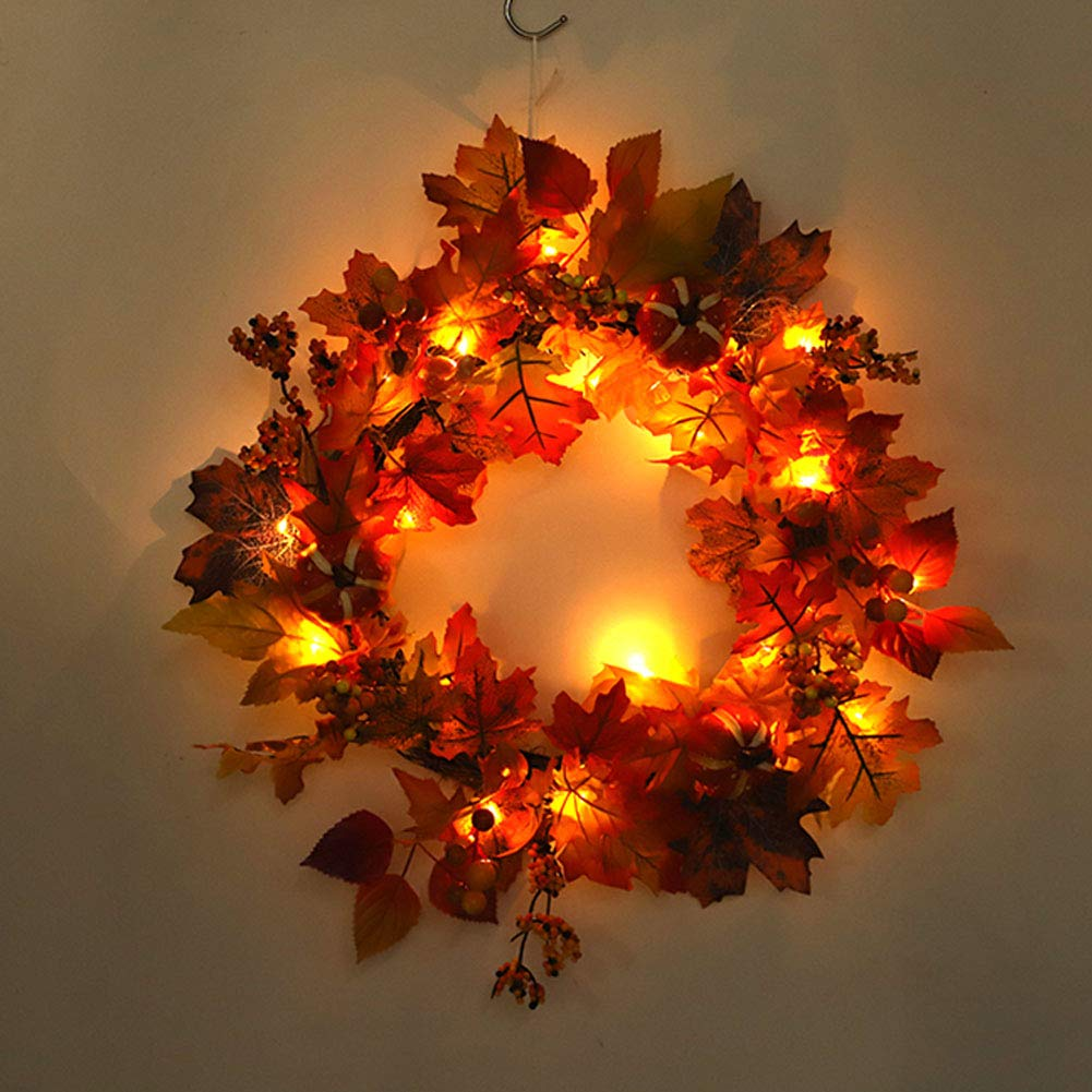 Ocamo Creative Decoration Home Hotel Ornament Christmas Wreath with Light String