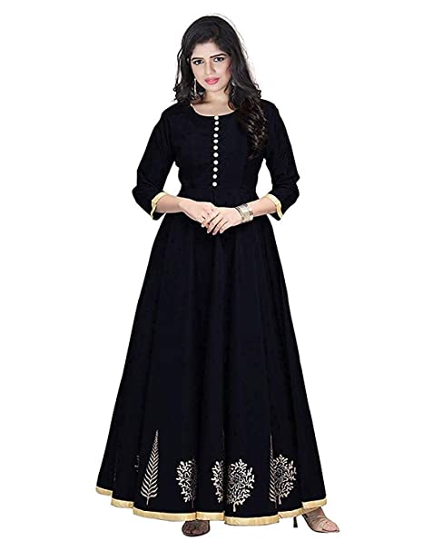 ebb89f0b286 Clickedia Women s Tafetta Silk Anarkali Style Indo Western Semi-Stitched  Gown (Black Gold