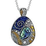 Kiara joyas azteca Guerra escudo símbolo colgante collar incrustados con verde azulado Paua Abalone Shell,