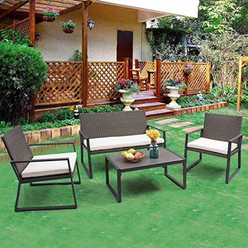Cheap  TANGKULA 4 pcs Wicker Furniture Set Outdoor Patio Furniture Rattan Wicker Sofas..