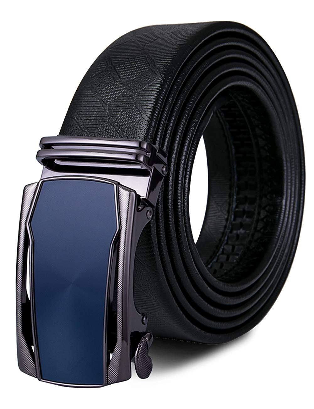 Hi-Tie Mens Luxury Black Belt of Genuine Leather Strap Sliding Automatic Buckle Size Adjustable Gift Box Set
