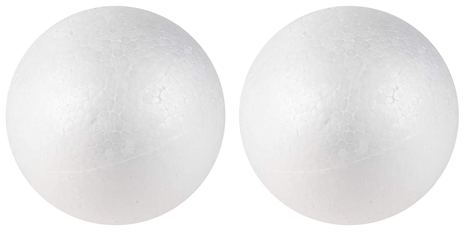 Craft Foam Balls - 2-Pack Large Smooth Round Polystyrene Foam Balls, Craft Supplies, Perfect for Art, Ornaments DIY, Wedding Decoration, Science Modeling, School Projects, White, 6 Inches Diameter Juvale