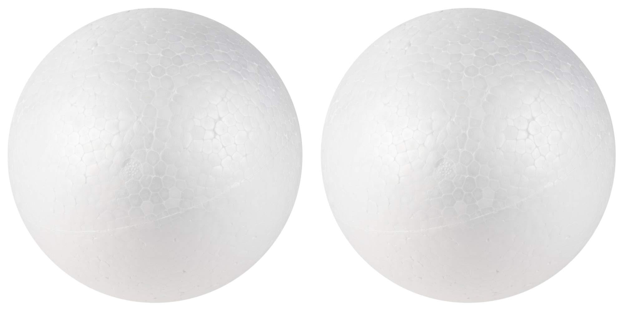 Craft Foam Balls - 2-Pack Large Smooth Round Polystyrene Foam Balls, Craft Supplies