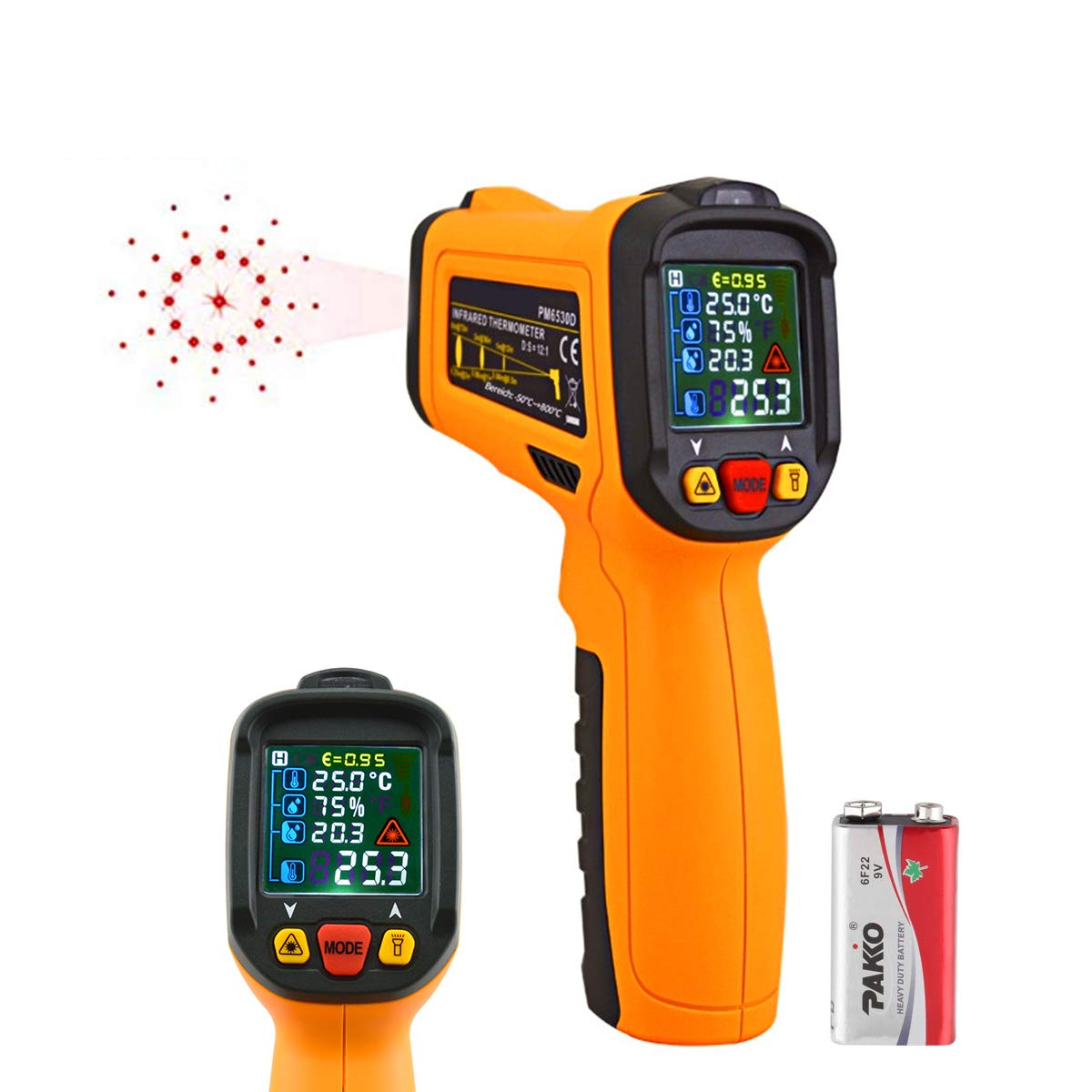 Laser Infrared Thermometer,HANMER Non Contact Temperature Gun Instant-Read -58 ℉to 1472℉with LED Display K-Type Thermocouple for Kitchen Cooking BBQ Automotive and Industrial PM6530D Thermometer by HANMATEK (Image #1)