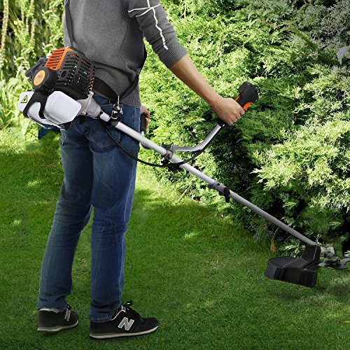 Lantusi 43cc 2-Cycle Gas Powered Straight Shaft Trimmer Brush Cutter Combo with Adjustable J-Handle for Grass Trimming by Lantusi (Image #2)