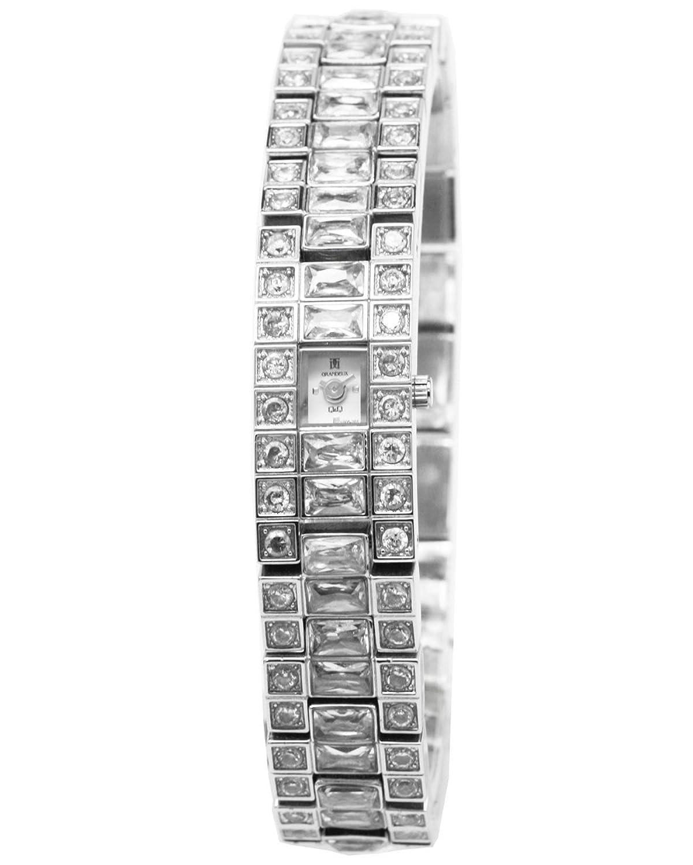 Q&Q Grandeux Damenuhr mit Silberfarbiges armband Analog Quarz Y005-201