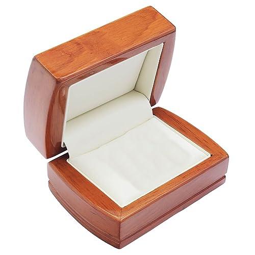 EYS JEWELRY® estuche de joyería para anillos de boda 84 x 75 x 50 mm madera marrón caja para anillos de boda alianza caja cofre embalaje para regalo: ...