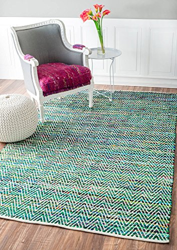 nuLOOM Rochell Handwoven Chevron Area Rug, 3' x 5', Green (Rugs Small Rag)