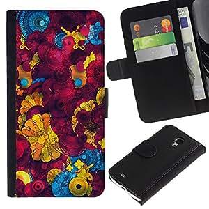 Planetar® Modelo colorido cuero carpeta tirón caso cubierta piel Holster Funda protección Para Samsung Galaxy S4 Mini i9190 / i9195 (Not For S4) ( Yellow 3D Abstract Pattern )