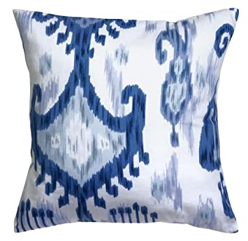pillow throw pillows cushion decorative pillows accent 18 inch ikat blue pillow with white - Blue Decorative Pillows