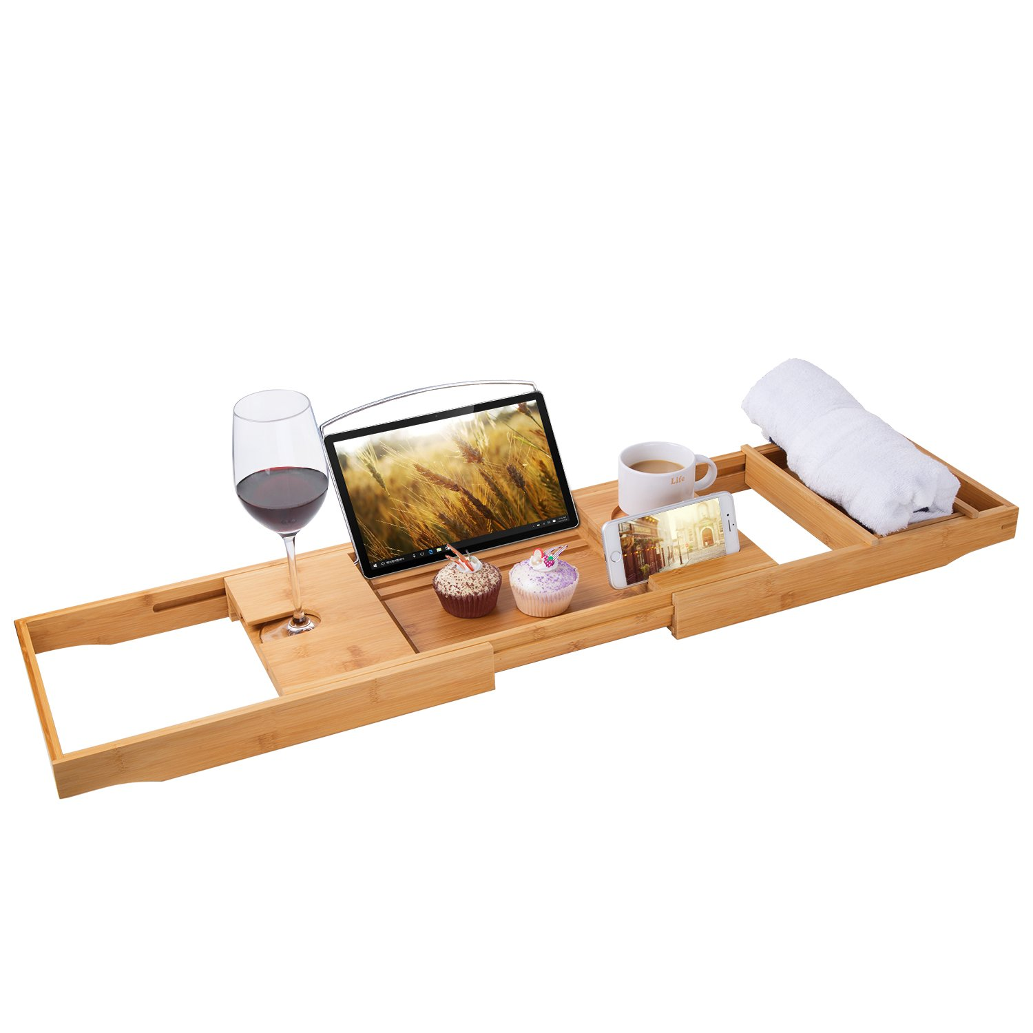 Bamboo Bathtub Caddy Shower Over Tub Tray Organizer with Extendable Sides, Cellphone Tray Integrated Wineglass Holder
