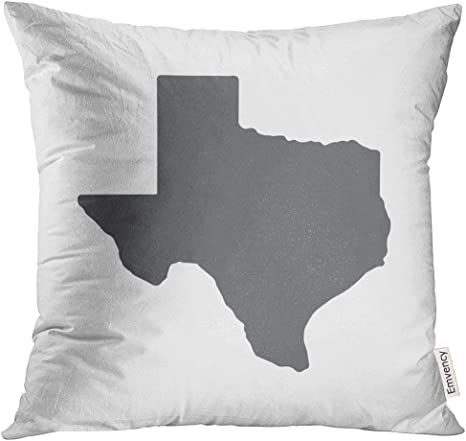 Tomkeys Throw Pillow Cover Austin Texas Grey State Border Map Houston Texan Decorative Pillow Case Home Decor Square 18x18 Inches Pillowcase Home Kitchen