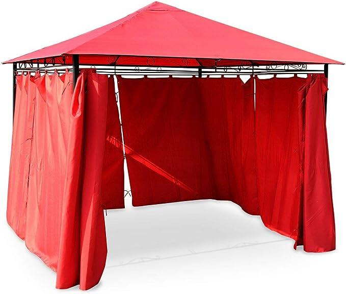 Alices Garden - Pergola con toldo 3x3m - Rojo - TOLOSA ...
