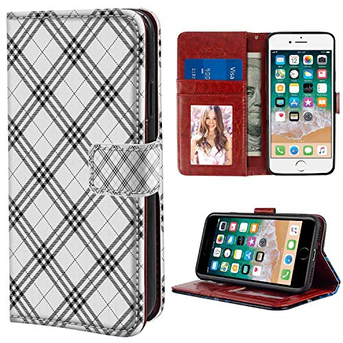 iPhone 7, iPhone 8 Wallet Case, Plaid Monochromatic Diagonal Pattern with Checks and Stripes Dashed Lines Celtic Classic Black White PU Leather Folio Case with Card Holder and ID Coin Slot ()