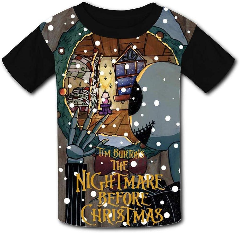 Halloween Jac-k Skull Nightma-re Kids T-Shirts Short Sleeve Tees Summer Tops for Youth//Boys//Girls