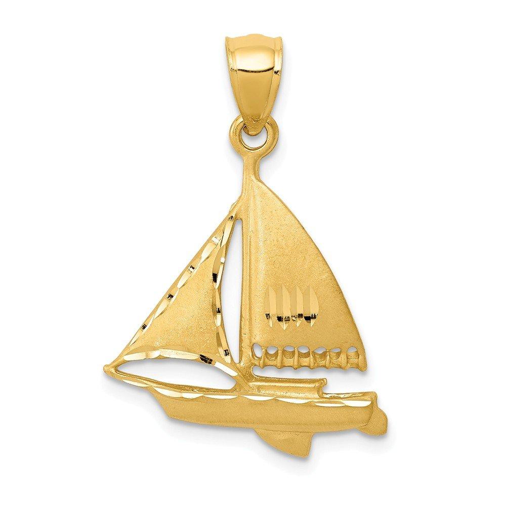 Mia Diamonds 14k Yellow Gold Satin Diamond-cut Sailboat Pendant