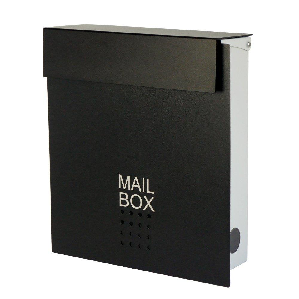 郵便ポスト 郵便受け メールボックス 壁掛け EUROデザイナーズポスト MB4902 マグネット開閉タイプ 鍵付き ベージュ MB4902-KM-BLACK 14 B00BQU7NSU 16800  扉:ブラック / 本体:ホワイト