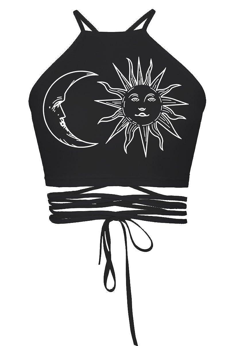 Women's Girls Cartoon Print Crisscross Halter Vest Crop Tops Tanks Camis WAYNE FINKELSTEIN