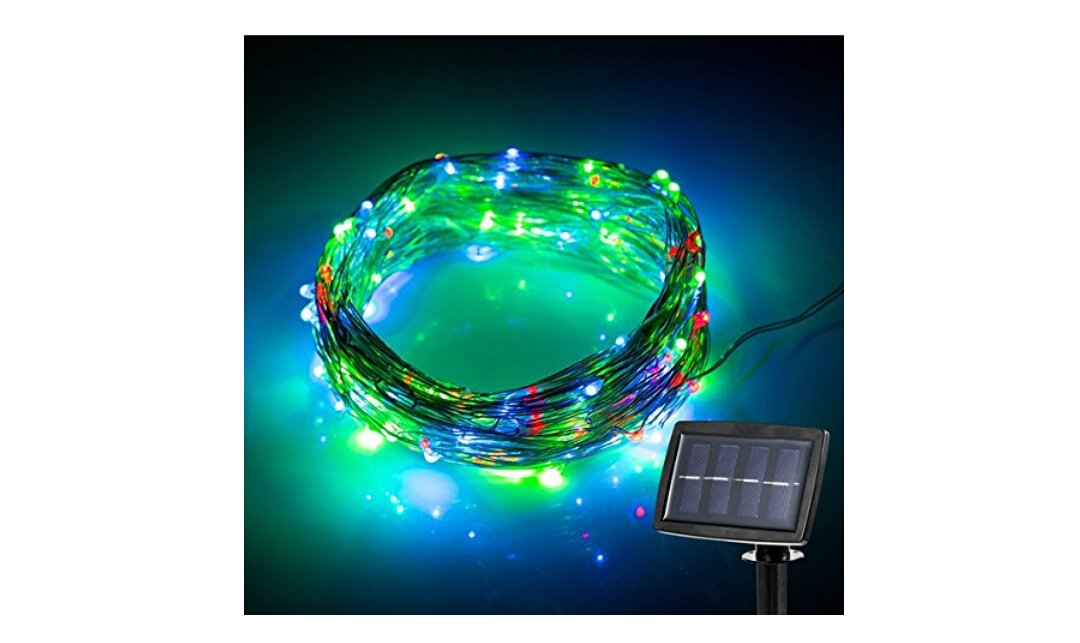 Elobeth Solar Powered String Lights Starry Silver Copper Wire Lights ...