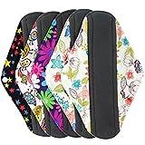 reusable pads menstrual - Wegreeco Bamboo Reusable Sanitary Pads - Cloth Sanitary Pads - Pack of 5 (Medium, Mix Prints)