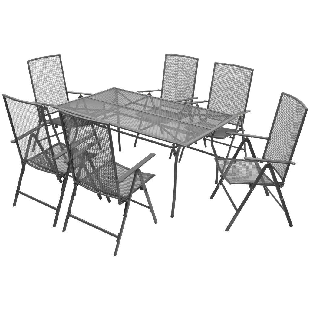 vidaXL Gartenmöbel 7-TLG. Streckmetall Gartengarnitur Sitzgruppe Gartenset