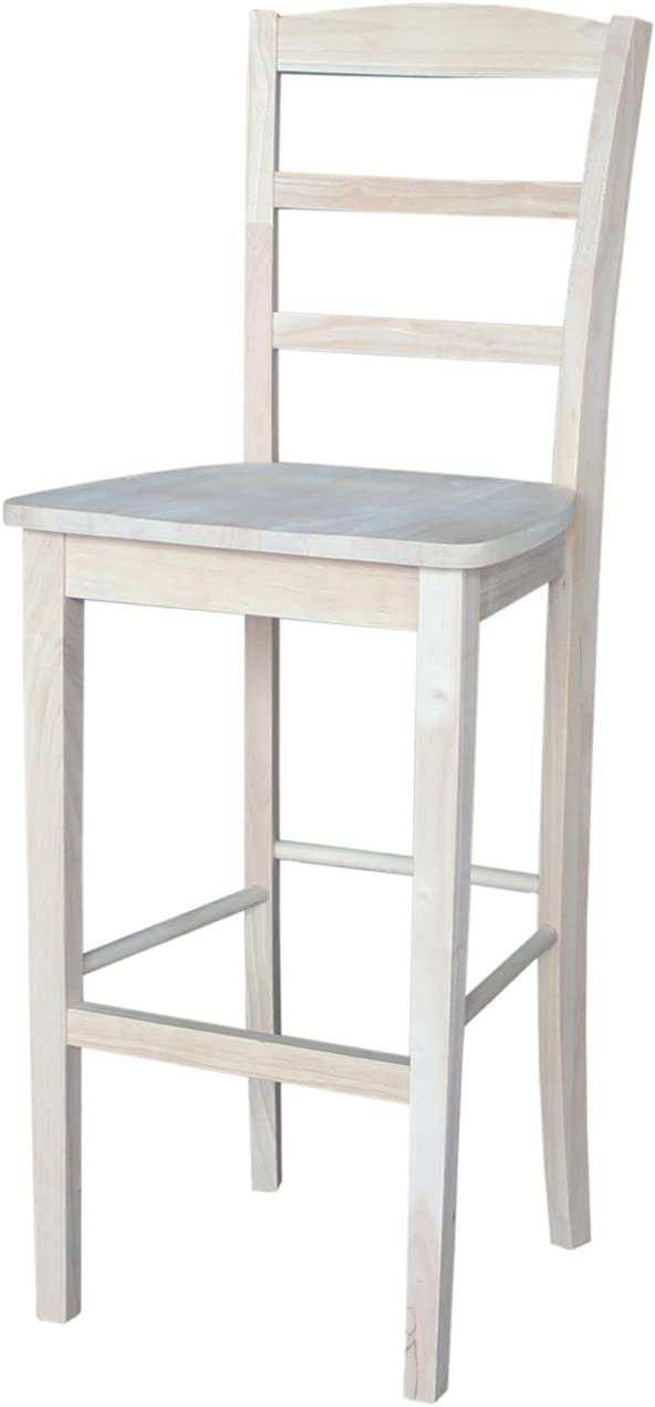 International Concepts 30-Inch Madrid Bar Stool, Unfinished