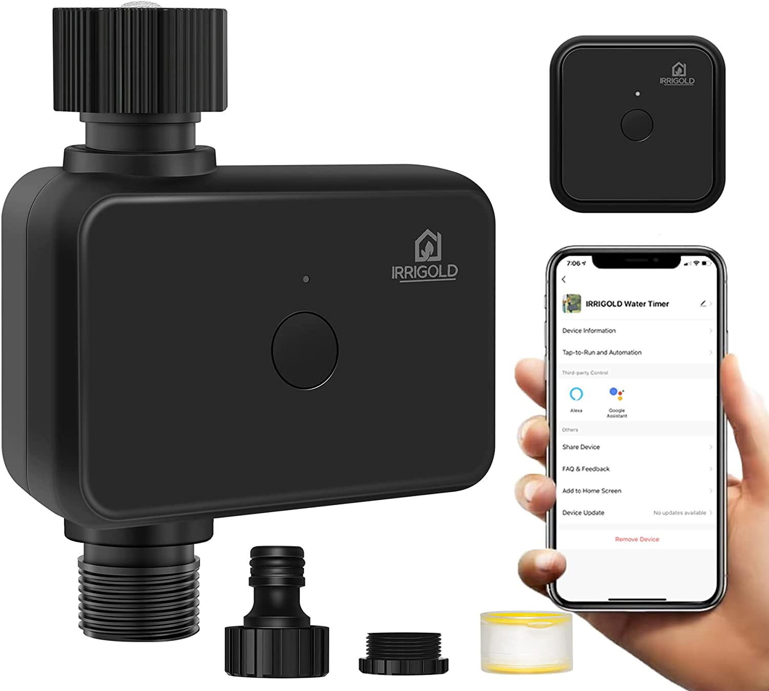IRRIGOLD WiFi Water Timer, Smart Sprinkler Timer Works with Alexa and Google Assistant via Wireless Hub, Rain Delay Irrigation Timer with IP55 Waterproof for Sprinkler/Garden/Hose Faucet /Greenhouse