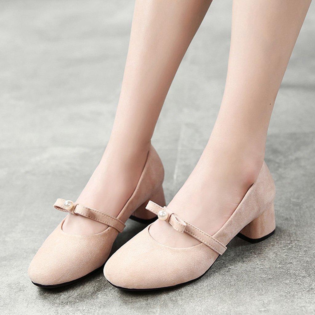 HWF Chaussures femme Printemps Shallow Mouth chaussures simples femmes rétro chaussures à talons hauts femmes ( Couleur : Beige , taille : 38 )