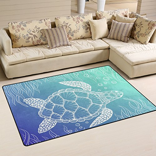 Yochoice Non-slip Area Rugs Home Decor, Vintage Sea Turtle Art Floor Mat Living Room Bedroom Carpets Doormats 31 x 20 inches -