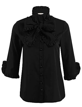 92a56fbc53f89 ACEVOG Women s Lace Ruffle Neck Blouse Long Sleeve Stand Collar OL Shirt  Tops (Black S