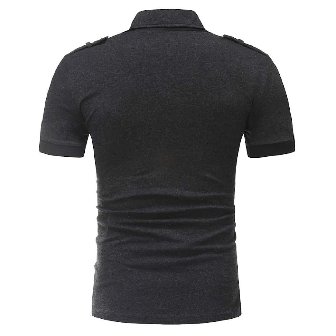 Vska Mens Summer Solid Turn Down Collar Button Down Short Sleeve Tee Shirt Tunic