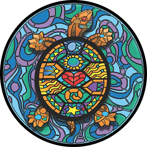 Stained Glass Turtle Spare Tire Cover for Jeep RV and more (Select from popular sizes in drop down menu or contact us-ALL SIZES AVAILABLE)