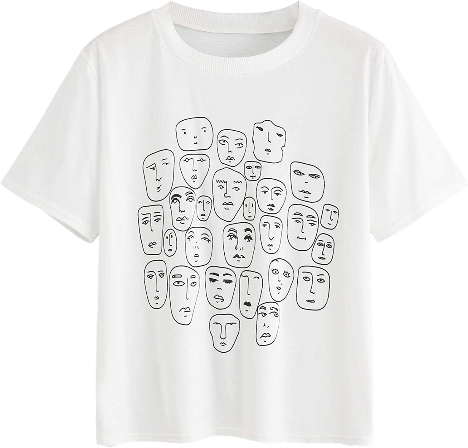 Romwe Women's Graphic Printed Cartoon Portrait Short Sleeve Casual T-Shirt Top at  Women's Clothing store