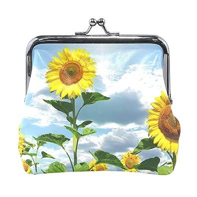 d61e65ab2fc8 Amazon.com: Sunflower Print Leather Coin Purse Mini Pouch Exquisite ...