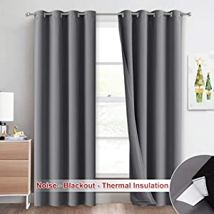 NICETOWN 3-in-1 Noise Blackout Thermal Insulation Curtains, Heavy-Duty Full Light Shading Drapes with Detachable Liner for Villa/Hall/Dorm Window(Gray, Package of 2, 52 inches Wide x 95 inches Long