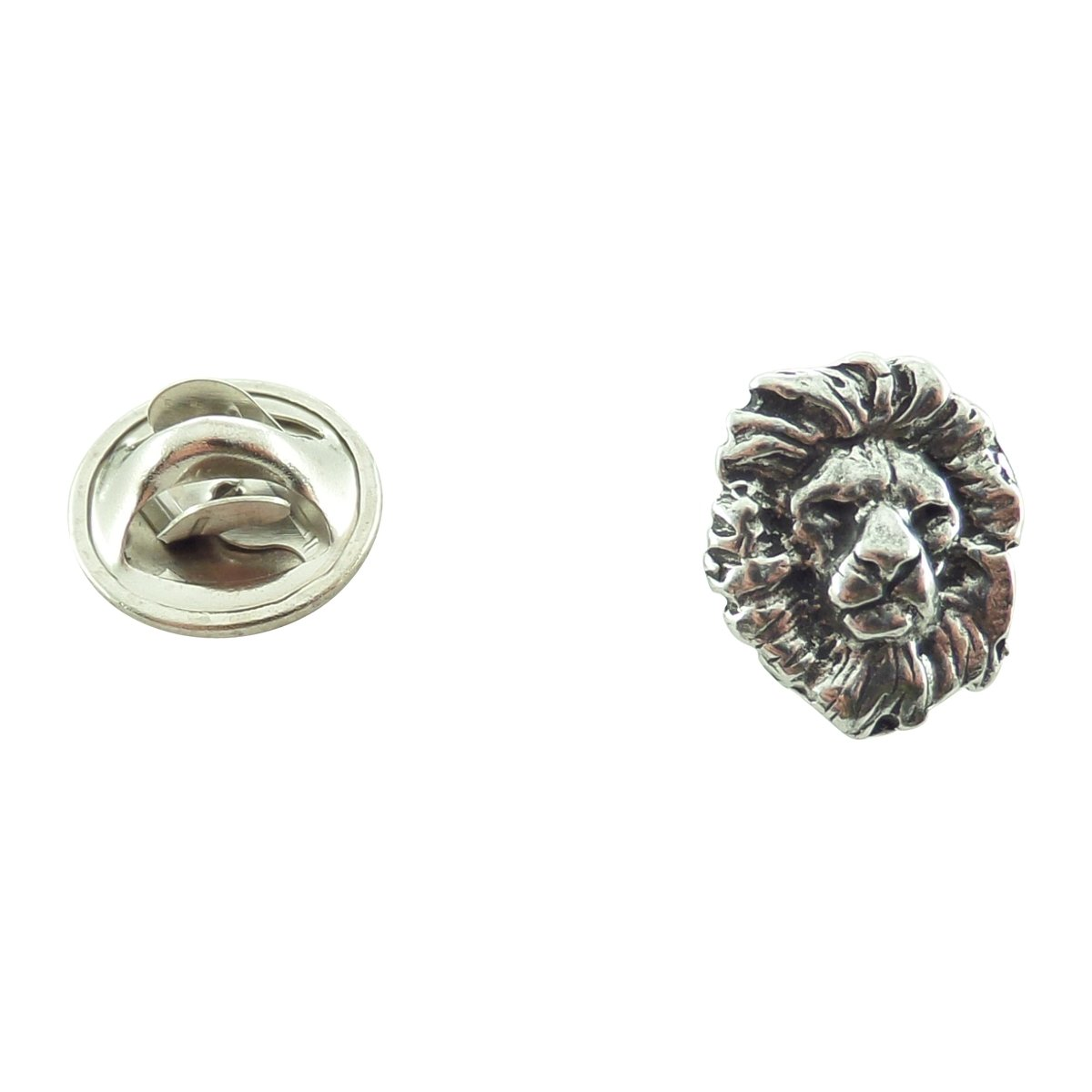 Creative Pewter Designs, Pewter Lion Head Mini Pin, Antiqued Finish, M102MP